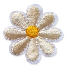 CREAM DAISY MOTIF IRON ON EMBROIDERED PATCH APPLIQUE
